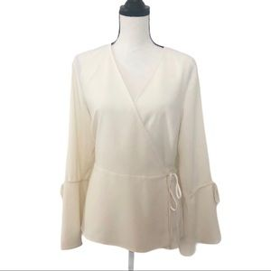 Vince Camuto Wrap Blouse With Bell Sleeves